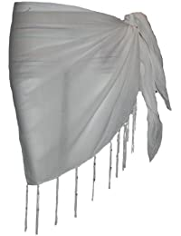 Passion4Fashion Plain Half White Cotton Sarong With Tassels & Beads