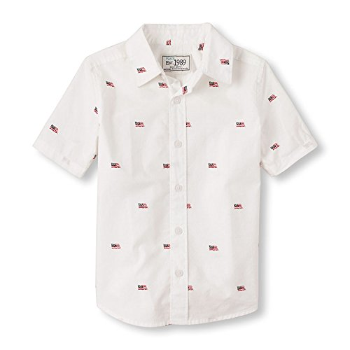 ee222015 The Children's Place Boys' Short Sleeve Flag Print Cotton Poplin Button-Down  Shirt (2066636_Tidal_M/7-8)