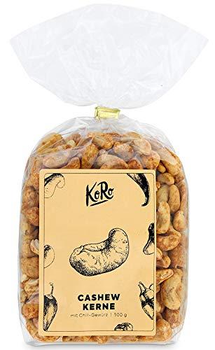 KoRo - Cashewkerne mit Chiligewürz 500g - Scharfer Snack Aus Cashews Und Chili Pulver