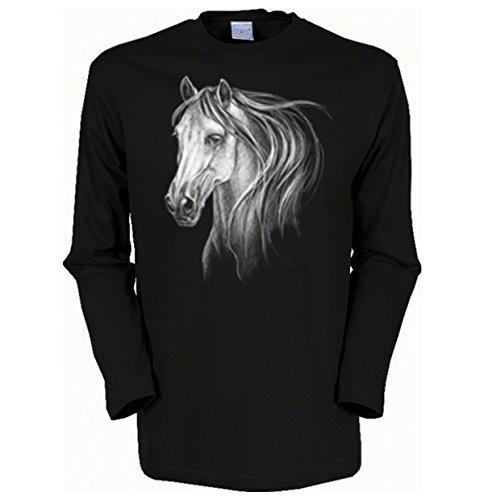 Herren Langarm-Shirt ::: White Horse ::: für Pferdeliebhaber Schwarz