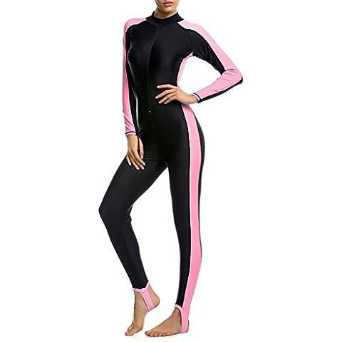Minetom Costume Da Bagno Donna Vacanze Estive Costumi Protezione Solare Pieno Corpo Confortevole Swimwear Con (Rosa Womens Muta Da Sub)