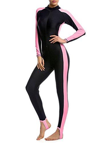 Minetom Damen Badeanzug Neoprenanzug Komfortabel Lange Ärmel Surfanzug Schwimmanzug Full Wetsuit Rosa DE 34 (Für Frauen Full Wetsuit)