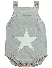 ❤️ Tefamore Mameluco Bebé, Recién Nacido Impresión Monos de Punto Otoño Invierno Camisola Jumpsuit, 0-24 Meses Bebé Ropa