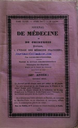 JOURNAL DE MEDECINE ET DE CHIRURGIE [No 4] du 01/04/1877