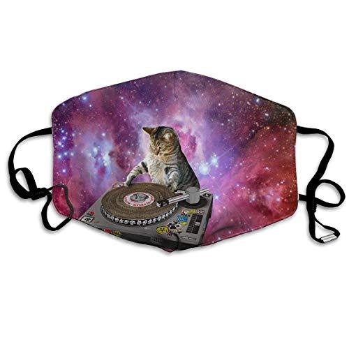 Hypoallergene Grippe-Staub-Maske, Ohrschlaufe, halbe Gesichtsmaske für Frauen, Männer, Outdoor-Aktivitäten, Malerei Mund, Muffle mit verstellbarem Gummiband - Erwachsene Katzen im Weltraum