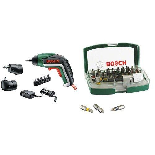 Bosch IXO V Set - Atornillador de batería de litio (5,4 W, 3,6 V) + 2 607 017 063 - Set con 32 unidades para atornillar (incluye puntas de seguridad) - 130 x 67 x 45
