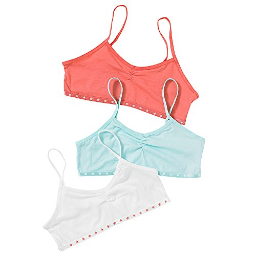 Just Essentials Girls Back To School 3 Pack Cotton Crop Bra Tops Mint/Coral- Mint/Coral - 11/12 Years