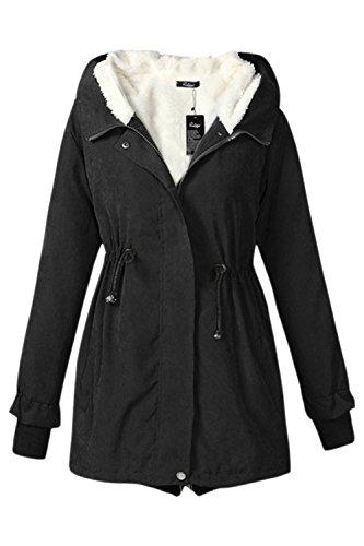 YACUN Faux Pelliccia Donna Manica Lunga Parka Inverno Caldo Giacca Con Cappuccio Cappotto Black
