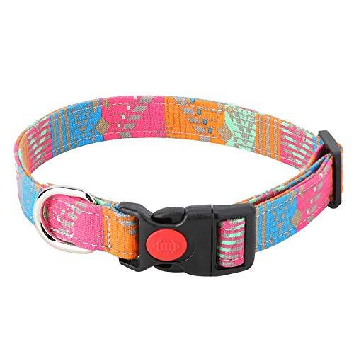 Hffheer Hundehalsband, Soft & Comfy Verstellbare Halsbänder für Hunde Modisches Haustierhalsband mit Streifen für Katzen Welpen Klein Mittelgroße Hunde Halsschmuck Zubehör(M) -