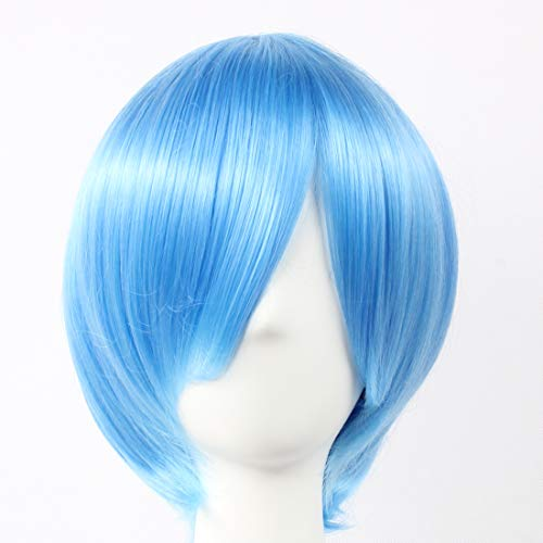 HOOLAZA Blaue kurze gerade Perücke Tsukimori Len Ayanami Rei für die Halloween Party Cosplay (Rei Ayanami Kostüm)