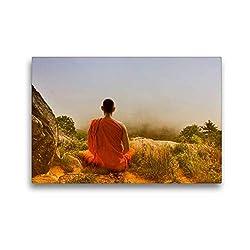 Premium Textil-Leinwand 45 x 30 cm Quer-Format Meditation in Thailand | Wandbild, HD-Bild auf Keilrahmen, Fertigbild auf hochwertigem Vlies, Leinwanddruck von Liselotte Brunner-Klaus