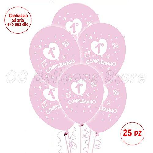 Palloncini 1° Compleanno Rosa addobbi e decorazioni per feste party confezione 25pz