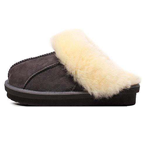 Zapatillas de lana de invierno Piel de oveja Zapatillas de algodón para interior, Calzado de piel cálida 2 3 4 5 6 7 8 9 10 11 12 13 14 35 36 37 38 39 40 41 42 43 44 ( Color : Gris , tamaño : 35-36 )