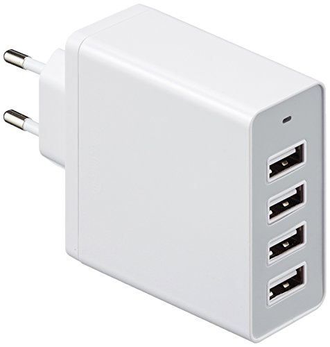 AmazonBasics - Netzteil/ Ladegerät mit 4 USB-Anschlüssen, 8 A, Weiß