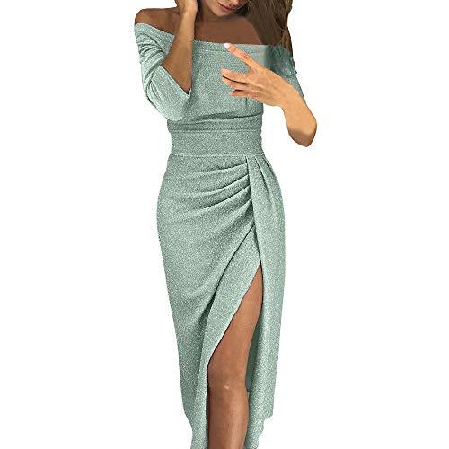 Writtian Cocktailkleid Elegant für Hochzeit Damen Sexy Schulterfreies Kleider Elegant Glänzend Schlitz Wickelkleid Maxikleid Hoch Partykleider Cocktailkleid