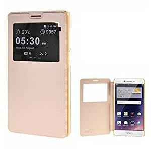 SmartLike HIGH QUALITY Window Leather Premium Flip Cover for Vivo Y66 GOLD