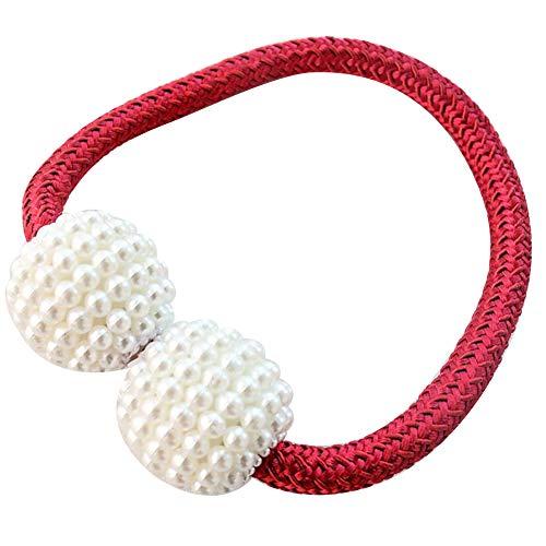 Obiqngwi perla perline finte corda per tessere tieback per tende magnetiche titolare dell'anello casa arredamento - rosso