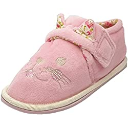 Kidsway - Pantuflas de Felpa para niñas, diseño de Gato, Color Rosa, Color Rosa, Talla 23.5 EU