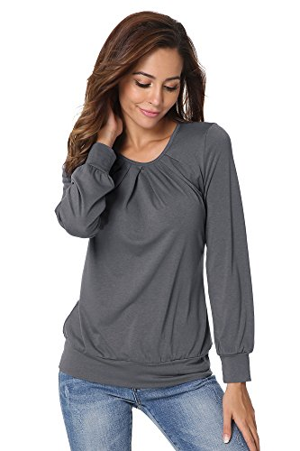 Flying Rabbit Top Femme Manche Longue - T-Shirt Pleated Col R-Casual Hauts Blouse Tops Gris