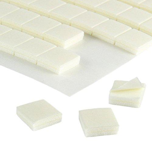 Doppelseitige Schaumklebepunkte   10 x 10 mm   3 mm Dicke   20 oder 100 Stück   Starke Soforthaftung auf vielen Oberflächen   Weisse 3D Klebepads zum Basteln, Fixieren, Befestigen / 100 Stück