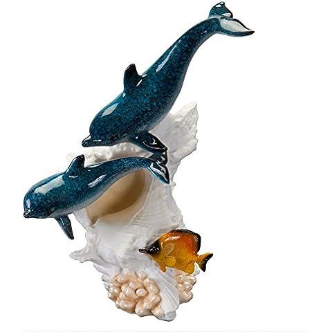 Old Glory Bottlenose Dolphin par natación figura decorativa