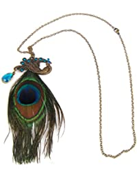Smallwise Trading Fashion Retro Vintage Style Gorgeous Peacock Necklace with Blue Eyes and Long Feather