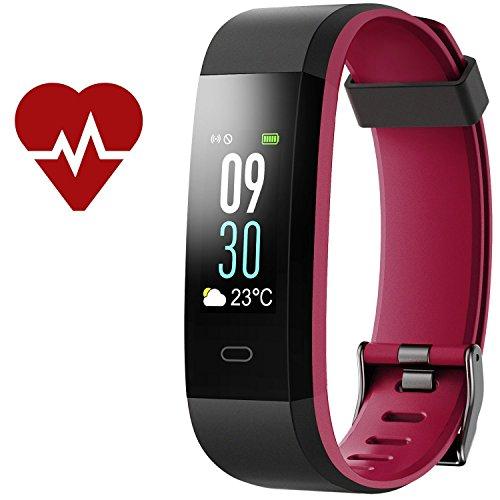 Kinbom Fitness Armband, Pulsuhren Farbbildschirm Fitness Tracker mit SchlafMonitor Armbanduhr, Schrittzähler, Kalorienzähler, IP68 Wasserdicht Aktivitätstracker Smart Uhr für Android&iOS Smartphones (BlackRed)