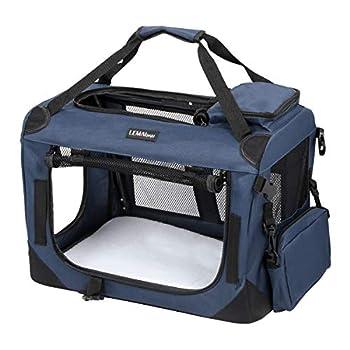 LEMAIJIAJU Caisse de Transport Chat Sac de Transport Pliable Cage de Transport pour Chien et Chat Animal Tissu Oxford Bleu Foncé - S 50cmx35cmx35cm