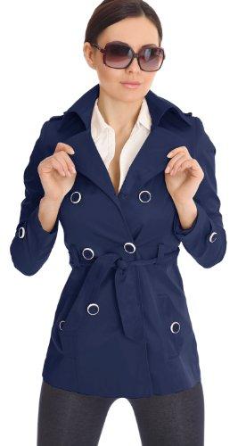 Trench pour femme Tailles 36/S 38/M 40/L 42/XL Différents coloris Bleu - Marine