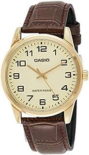 Casio men's Watch with Genuine Lea