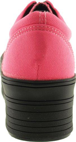 Maxstar C50 5 trous à plateforme basse Casual Baskets Chaussures bateau Rose - rose
