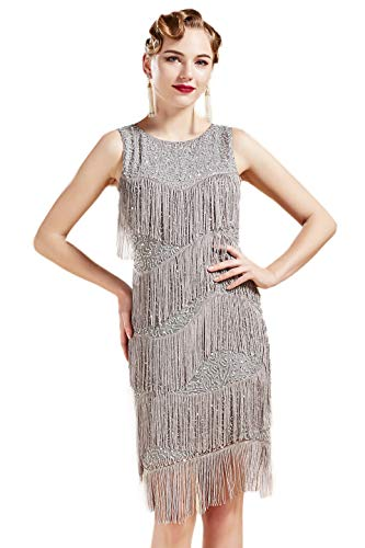 Coucoland 1920s Kleid Damen Runder Ausschnitt Elegant Abendkleid mit Multi Schichten Fransen 20er Jahre Retro Stil Great Gatsby Cocktail Party Damen Fasching Kostüm Kleid (Grau, S) (Damen 1920's Kostüm)