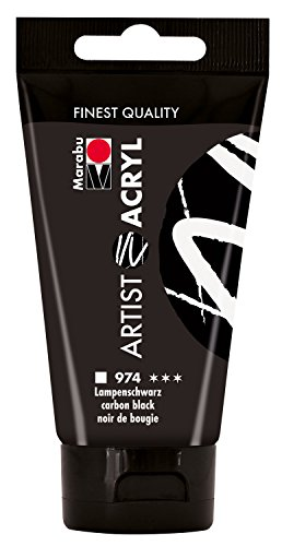 Marabu 12200002974 - Artist Acryl, feine Acrylfarbe in Künstlerqualität, auf Wasserbasis, pastose Konsistenz, hoch pigmentiert, sehr gute Brillanz und Deckkraft, 75 ml, lampen schwarz