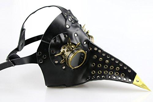 Maske Cosplay Geschenke Halloween-Maske Kunstleder Black Raven Steampunk, Horror Geist Scary, Prank-Schablonen-Gesichts Scary Party, Bar Props -