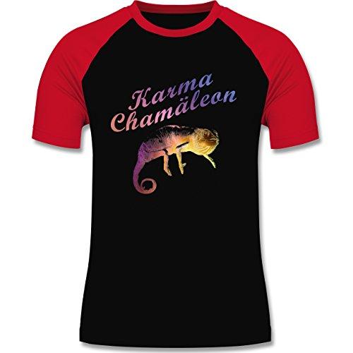 Statement Shirts - Karma Chamäleon - zweifarbiges Baseballshirt für Männer Schwarz/Rot