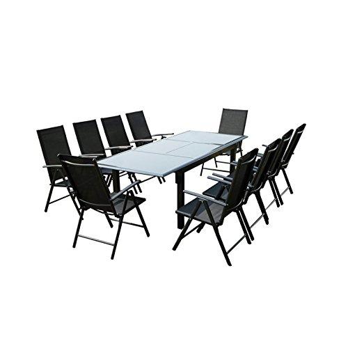 Table FIRONE avec rallonge en Aluminium Gris anthracite plateau en verre Noir avec 10 Fauteuils FIRONE en textilène Noir - L 240 x l 100 x H 75