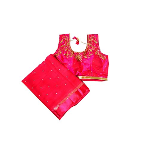 Clickedia Women\'s georgette Pink Saree with matching blouse pc