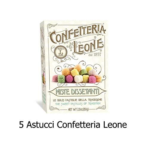 5 Astucci Miste Dissetanti Confetteria Leone g 80 Pastiglie aromatiche dissetanti ottenute esclusivamente con colori naturali- Senza glutine e Senza tracce di latte e frutta a guscio