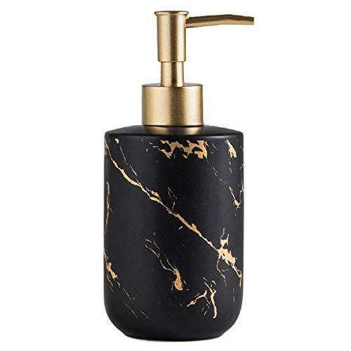Bad Keramik Seifenspender Händedesinfektionsmittel Flasche Golden Marmor Textur Matte Metalloberfläche Frühling Pumpenkopf (Color : Black)