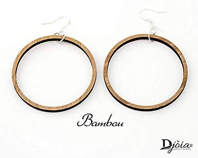 Boucles d'oreilles créole en bois, découpées au laser. bambou ou noyer. Bijoux bois, fait main