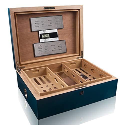 MOSMAT Luxuriöse Zigarren Humidor Box Box aus hochwertigem Zedernholz mit elektronischer Temperatur- und Luftfeuchtigkeitsanzeige 2 Luftbefeuchter, 200 Zigarren