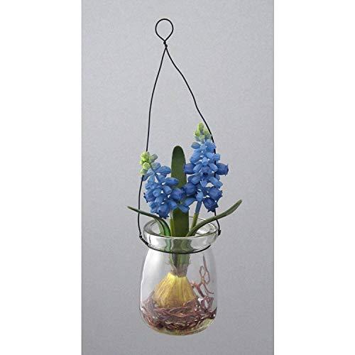 Kunstblume MUSCARI im HÄNGEGLAS. Ca 15 cm. Traubenhyazinthe im RUNDEN GLAS. BLAU -90