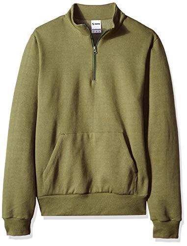 Soffe Herren Solid Mock Quarter Zip Sweatshirt Fleecejacke, Olive Dye Green, Mittel -
