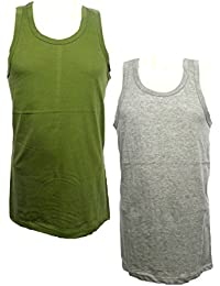 Mens Vests 100% Cotton Sleeveless Coloured Vest Gym Training Running Top S-XXL 2 Pack