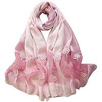 CYSJW-Mulberry Silk Scarves Damas Costumbres Étnicas Abalorios Perlas Flores Gradacion Bufandas Chales E