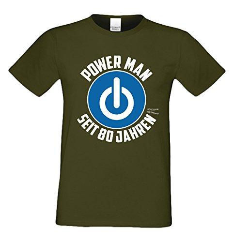 Geschenk für Männer zum 80. Geburtstag :-: Herren T-Shirt als Geschenkidee für Ihn zum runden Geburtstag Papa Opa :-: Power Man seit 80 Jahren ; Farbe: khaki Khaki
