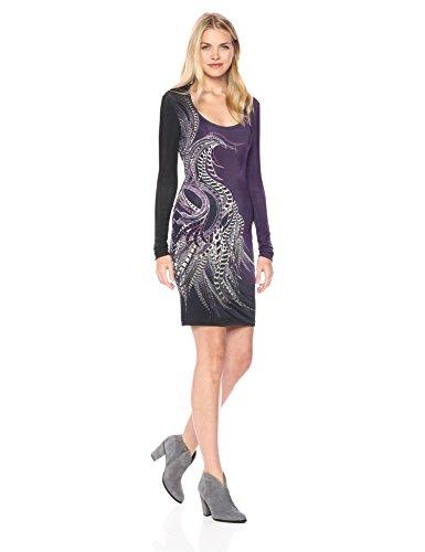 Just Cavalli Damen Womens Phaesant Paisley Print Dress Kleid, Purple Variant, 68