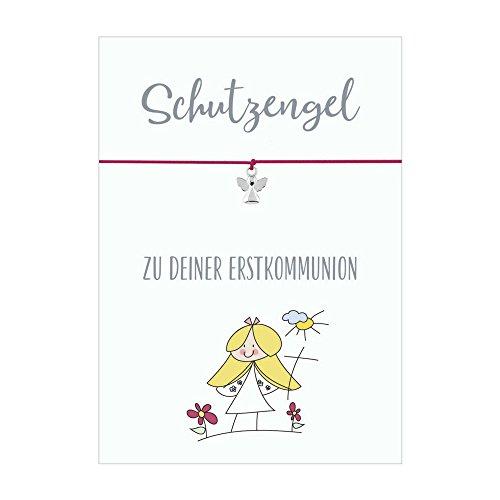 Glücksschmiedin Schutzengel ZUR Erstkommunion Armband mit Anhänger Schutzengel versilbert, elastischem Textilband in pink und liebevoller Karte (Erstkommunion-geschenk Für Mädchen)