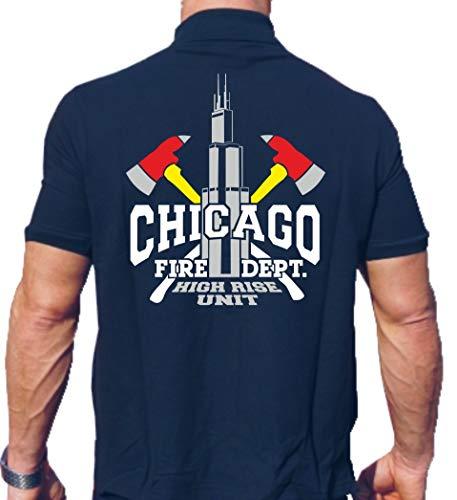 FEUER1 Polo Navy, Chicago Fire Dept. High Rise Unit/Äxte/Willis Tower (Silver Edition) L