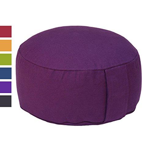 Meditationskissen RONDO BASIC (Dinkel), mit abnehmbarem Bezug (aubergine), bequemes, klassisches Sitzkissen für die Meditation im Yoga, für Zen Meditation und andere Sitzmeditationen, Yogakissen